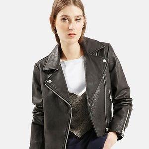 Topshop Black Genuine Leather Moto Biker Jacket
